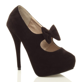 Front right side view of Black Suede High Heel Mary Jane Bow Platform Court Shoe