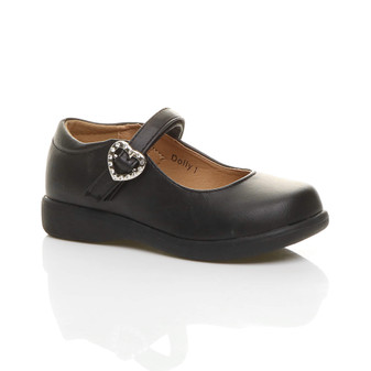 Front right side view of Black PU Flat Heart Buckle Mary Jane Shoes