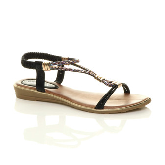 Front right side view of Black PU Flat Low Wedge Heel Strappy T-Bar Diamante Slingback Sandals