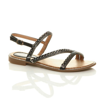 Front right side view of Black Flat Diamante Strappy Buckle Sandals