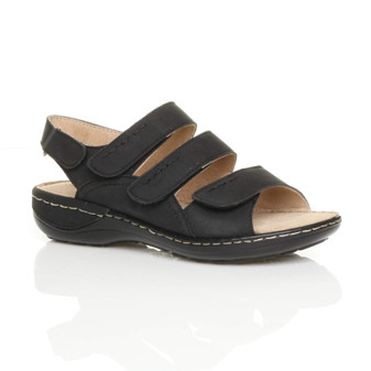 Front right side view of Black PU Low Wedge Heel Slingback Comfort Sandals