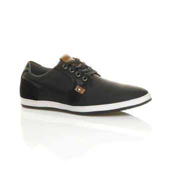 Front right side view of Black PU Flat Contrast Lo-Top Trainers Plimsolls