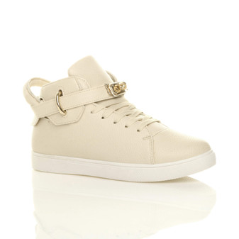 Front right side view of Beige PU Strap Hi-Top Trainers Ankle Boots