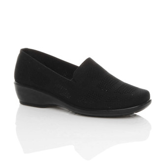 Front right side view of Black Low Mid Heel Slip On Mesh Lightweight Comfort Shoes Loafers