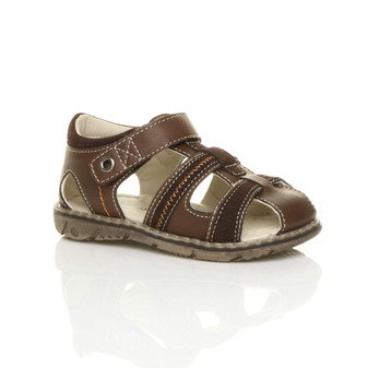Front right side view of Brown PU Flat Gladiator Fisherman Sandals
