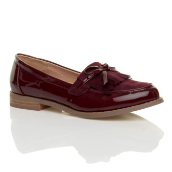 Front right side view of Burgundy Patent Flat Contrast Fringe Tassel Loafers
