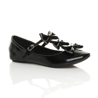 Front right side view of Black Patent Flat Triple Bow T-Bar Ballerina Dolly Shoes