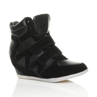 Front right side view of Black Suede High Heel Wedge Hi-Top Trainers Ankle Boots