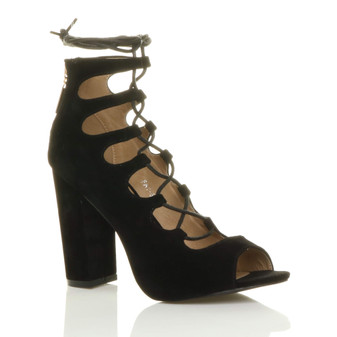 Front right side view of Black Suede High Block Heel Ghillie Peep Toe Shoes