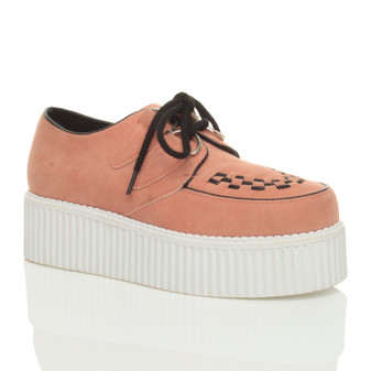 Front right side view of Salmon Suede Double Platform Flatform Wedge Brothel Creepers
