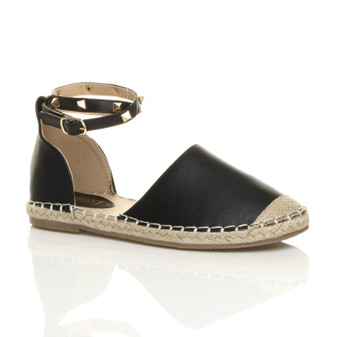 Front right side view of Black PU Flat Studded Ankle Strap Espadrilles