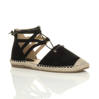 Front right side view of Black Suede Flat Ghillie Cut Out Espadrilles