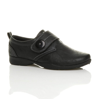 Front right side view of Black PU Low Heel Comfort Shoes