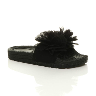 Front right side view of Black Flatform Flower Platform Sandals Sliders Flip Flops