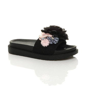 Front right side view of Black Flatform Flower Platform Footbed Sandals Sliders Flip Flops