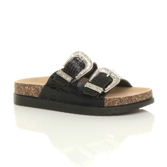 Front right side view of Black PU Flat Slip On Western Double Strap Sliders Sandals