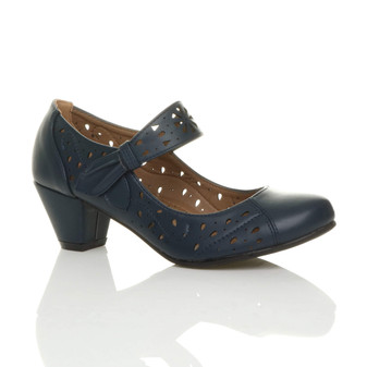 Front right side view of Navy PU Mid Heel Cut Out Mary Jane Court Shoes