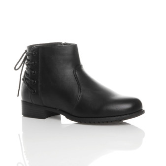 Front right side view of Black PU Low Heel Corset Style Back Pixie Ankle Boots