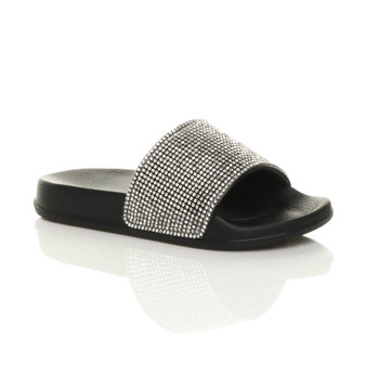Front right side view of Black Flat Diamante Sparkly Sliders Sandals Flip Flops