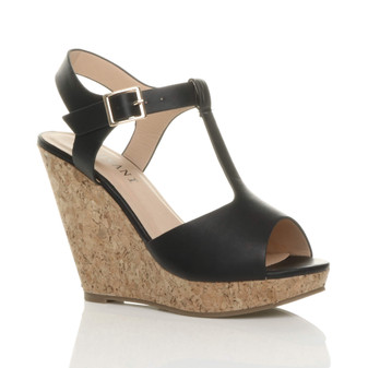 Front right side view of Black PU High Heel Cork Wedge T-Bar Platform Sandals