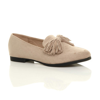 Front right side view of Beige Suede Tassel Bow Shoes Loafers Flats