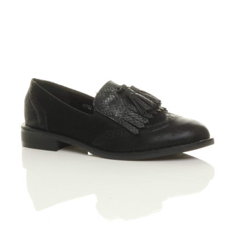 Front right side view of Black PU Flat Low Heel Slip On Metallic Fringe Contrast Brogues Shoes