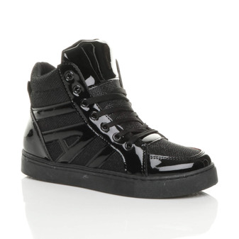 Front right side view of Black Flat Lace Up Metallic Glitter Hi-Top Trainers Ankle Boots