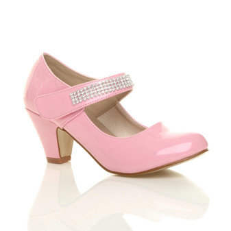 Front right side view of Baby Pink Patent Mid Heel Mary Jane Diamante Court Shoes