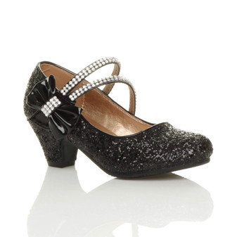 Front right side view of Black Glitter Mid Heel Mary Jane Diamante Bow Court Shoes