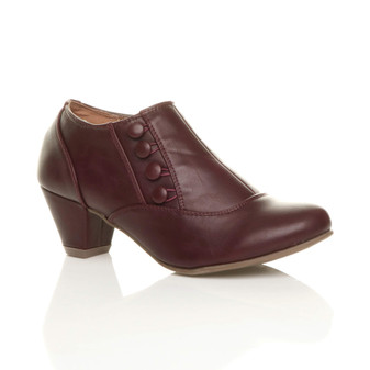 Front right side view of Burgundy PU Mid Heel Buttons Shoe Boots Ankle Booties