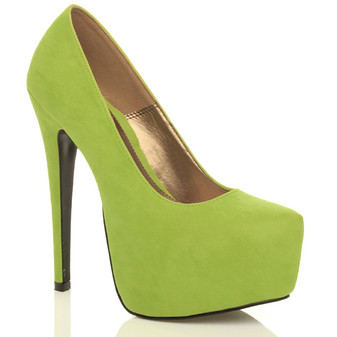 Front right side view of Lime Green Suede High Heel Pointed Platform Court Shoes
