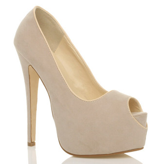 Front right side view of Nude Suede High Heel Platform Almond Peep Toe Court Shoes