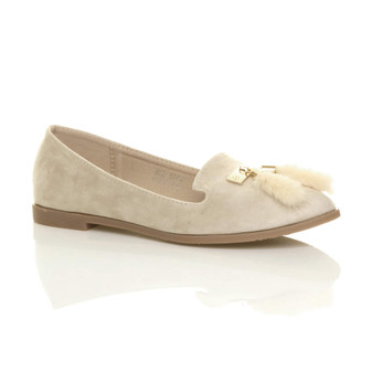 Front right side view of Beige Suede Flat Tassel Pointed Ballerinas Loafers