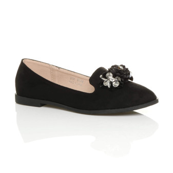 Front right side view of Black Suede Flat Flower Diamante Loafers Shoes