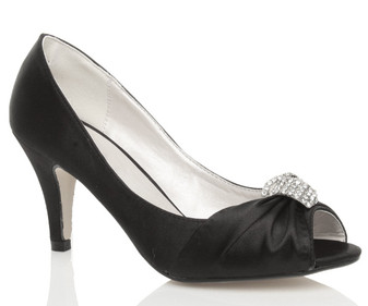 Front right side view of Black Satin Mid Heel Ruched Peep Toe Shoes