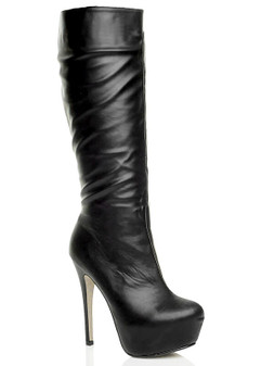 Front right side view of Black PU High Heel Concealed Platform Calf Boots