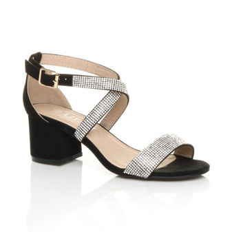Front right side view of Black Diamante Suede Mid Block Heel Cross Strap Party Strappy Sandals