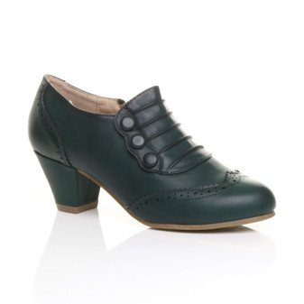 Front right side view of Teal Green PU Mid Heel Buttons Brogue Ankle Boots Booties