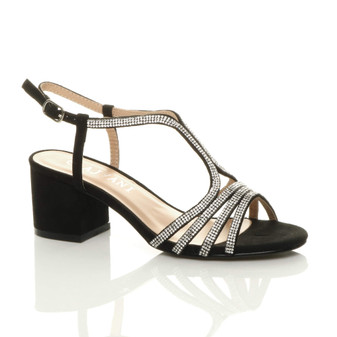 Front right side view of Black Suede Mid Block Heel Buckle T-Bar Diamante Evening Sandals