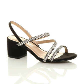 Front right side view of Black Suede Mid Block Heel Slingback Strappy Diamante Sandals