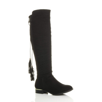 Front right side view of Black Suede Low Gold Heel Stretch Tassel Knee Boots