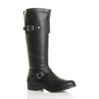 Front right side view of Black PU Low Heel Chelsea Calf Riding Boots