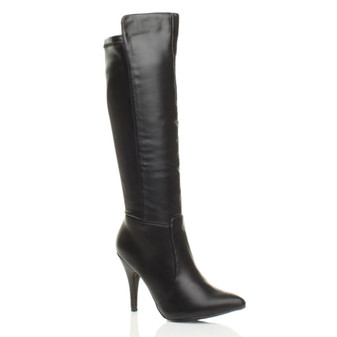 Front right side view of Black PU High Heel Stretch Riding Calf Boots