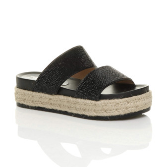 Front right side view of Black PU Mid Wedge Heel Diamante Platform Sandals Flatform Espadrilles