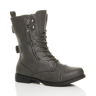 Front right side view of Grey PU Low Heel Zip Military Ankle Boots