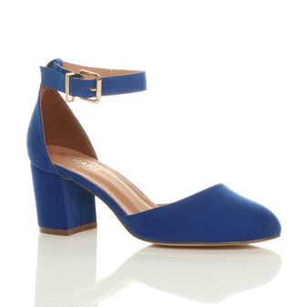 Front right side view of Cobalt Blue Suede Mid Block Heel Ankle Strap Sandals Court Shoes