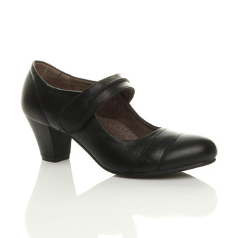Front right side view of Black Mid Heel Comfort Mary Jane Court Shoes