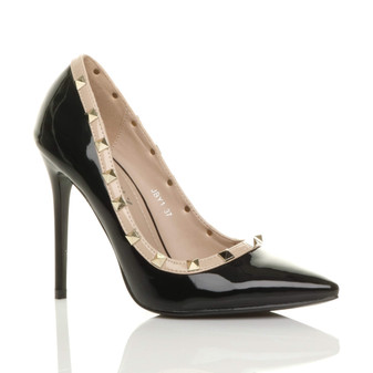 Front right side view of Black Patent High Heel Stiletto Studded Pointed Court Shoes