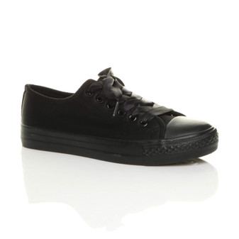 Front right side view of Black Satin Flat Canvas Plimsolls Trainers Sneakers