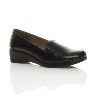 Front right side view of Black Mid Heel Wedge Elastic Comfort Loafers